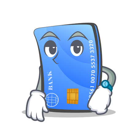 Waiting credit card character cartoon Illustration