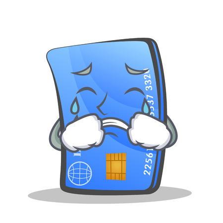 Crying credit card character cartoon vector illustration