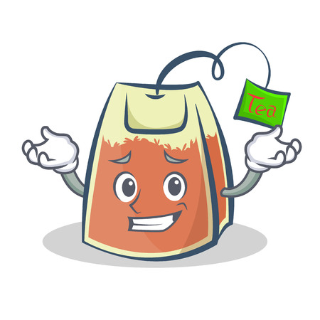 Grinning tea bag character cartoon vector art Illustration