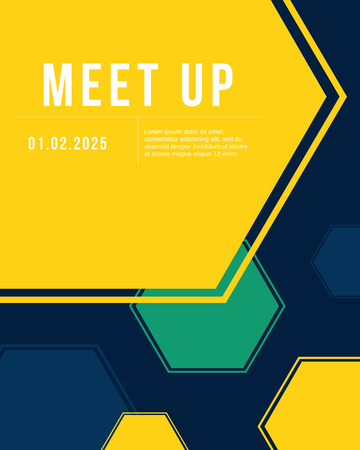 meet up: Geometric cover design colorful meet up card Illustration