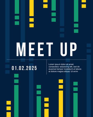 meet up: cool colorful background card design for meet up vector art