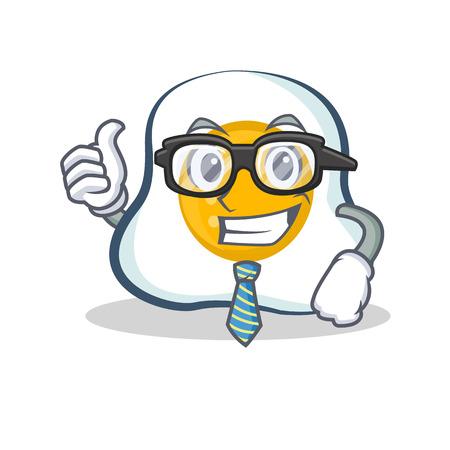 Businessman fried egg character cartoon