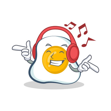 Listening music fried egg character cartoon vector illustration