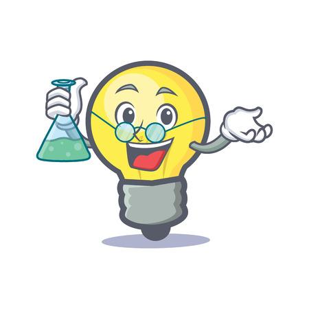 Professor light bulb character cartoon