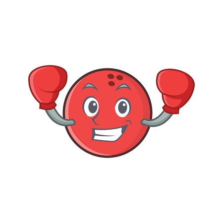 Boxing bowling ball character cartoon Ilustração