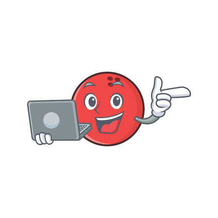bowling ball character cartoon with laptop