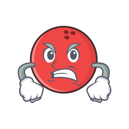 Angry bowling ball character cartoon Illustration