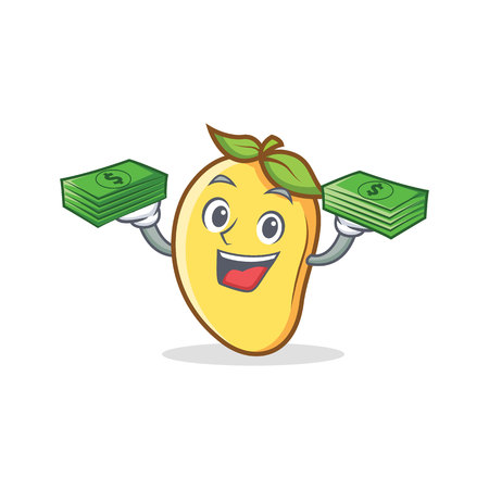 A mango character cartoon mascot with money.