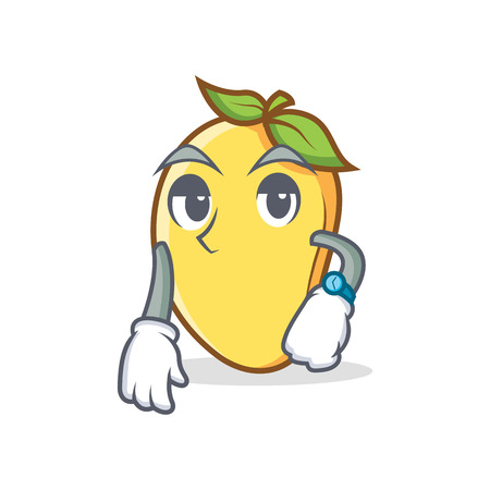 Waiting mango character cartoon mascot.