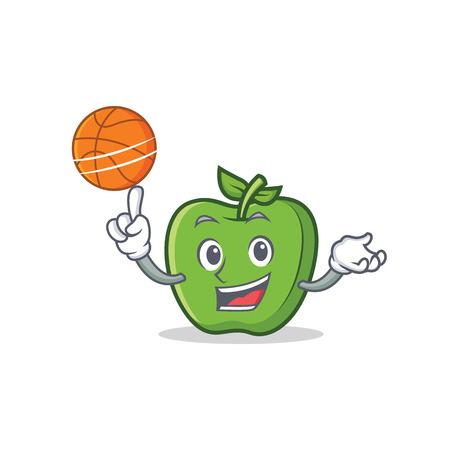 Playing basketball green apple character cartoon vetcor illustration