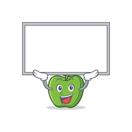 Up board green apple character cartoon vector art