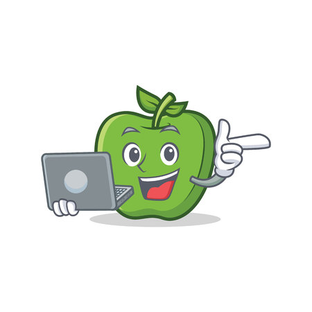 With laptop green apple character cartoon Illustration
