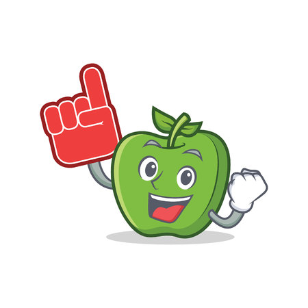 Foam finger green apple character cartoon vector illustration