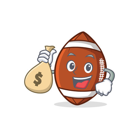 American football character cartoon with money bag vector art