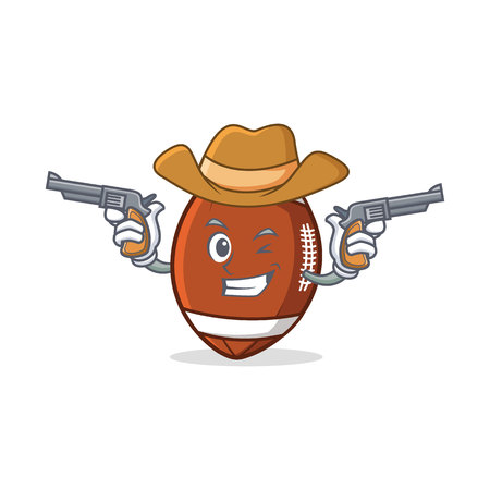 Cowboy American football character cartoon.