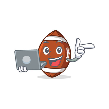 American football character cartoon with laptop.