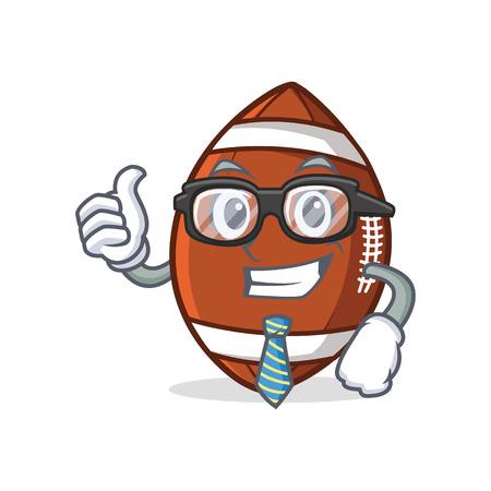 Businessman American football character cartoon.