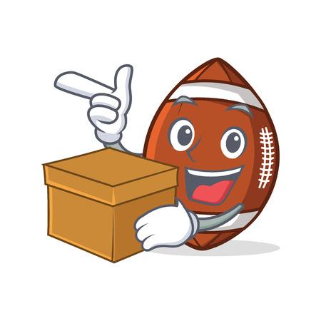 American football character cartoon with box. Illustration