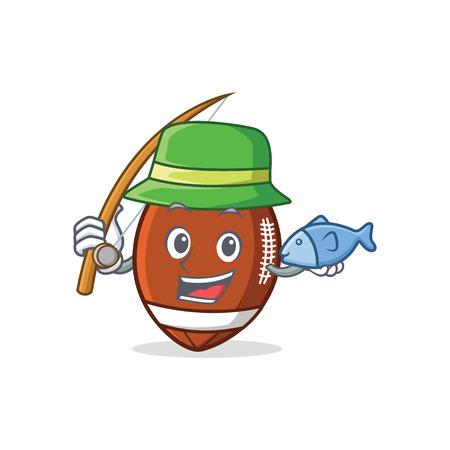 Fishing American football character cartoon vector illustration Illustration