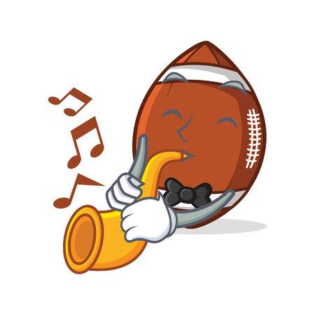 eye ball: American football character cartoon with trumpet.