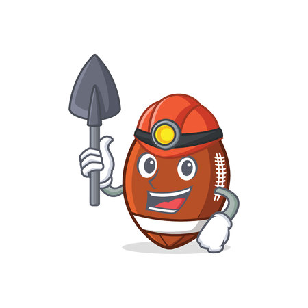 Miner American football character cartoon.