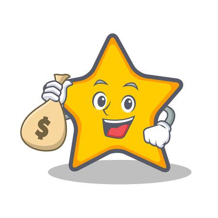 Met geld tas ster karakter cartoon stijl vector illustratie Stock Illustratie