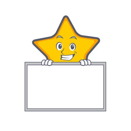 Grijnzende het beeldverhaalstijl van het sterkarakter met raads vectorillustratie Stock Illustratie