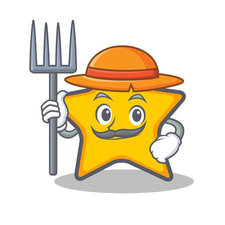 Famer ster karakter cartoon stijl vector illustratie Stock Illustratie