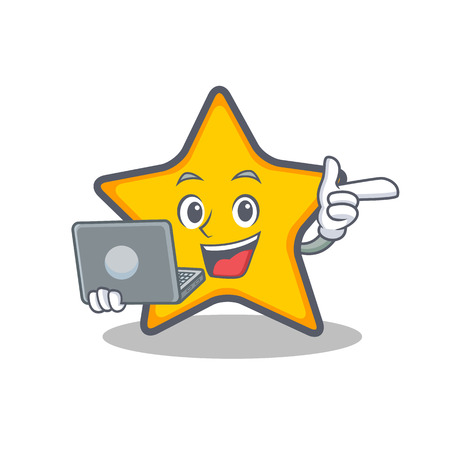 A star character cartoon style with laptop vector illustration. Illustration