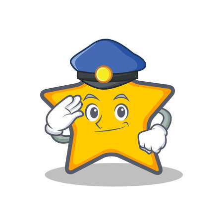 Politie ster karakter cartoon stijl vectorillustratie