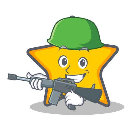 Leger ster karakter cartoon stijl vector illustratie