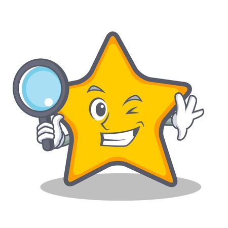 Detective ster karakter cartoon stijl vectorillustratie