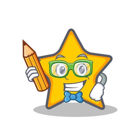 Student met potlood ster karakter cartoon stijl vectorillustratie Stock Illustratie