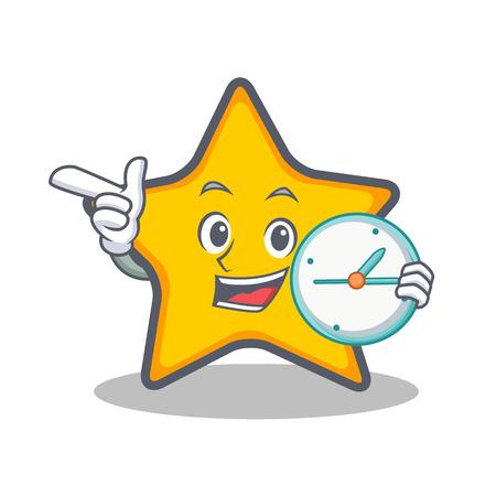 Met klok ster karakter cartoon stijl vector illustratie Stock Illustratie