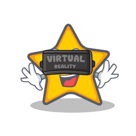 Met virtual reality ster karakter cartoon stijl vector illustratie.