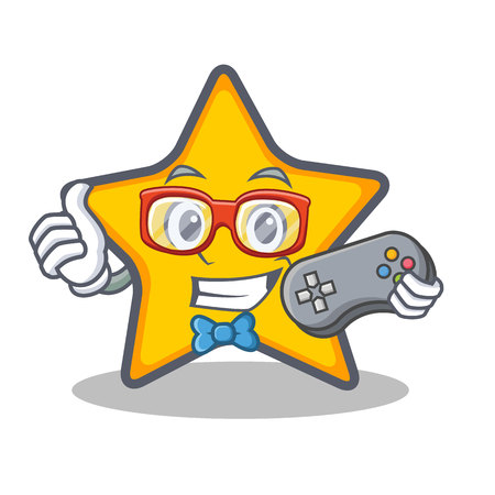 Gamer ster karakter cartoon stijl vectorillustratie Stock Illustratie
