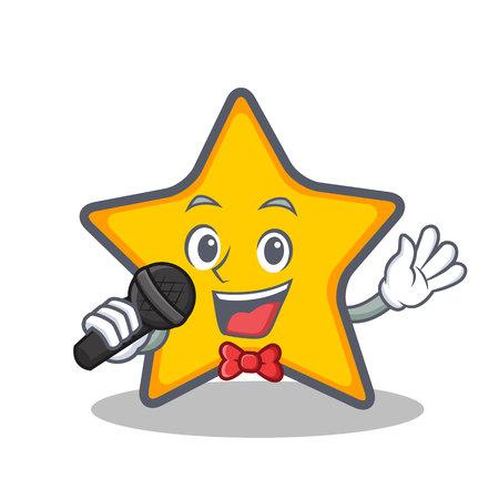 Karaoke ster karakter cartoon stijl vectorillustratie. Stock Illustratie