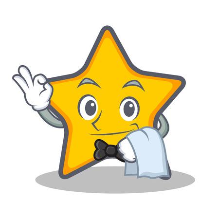Kelner ster karakter cartoon stijl vector illustratie. Stock Illustratie