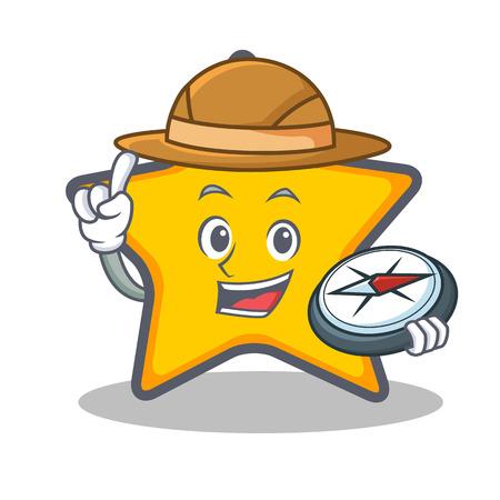 Explorer ster teken cartoon stijl Stock Illustratie
