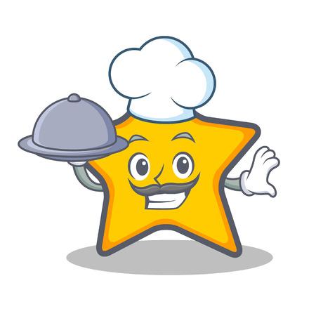 Chef-ster sterrenbeeld cartoon stijl met voedsel