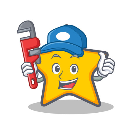 Loodgieter ster karakter cartoon stijl illustratie