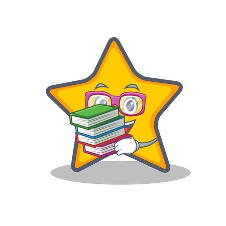 Student met boek ster karakter cartoon stijl vectorillustratie