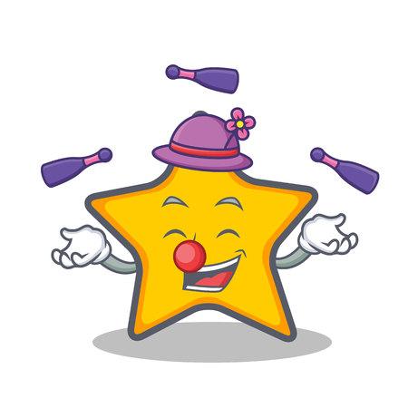 Juggling star character cartoon style vector art Stock Illustratie