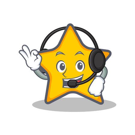 Met hoofdtelefoon ster karakter cartoon stijl vectorillustratie