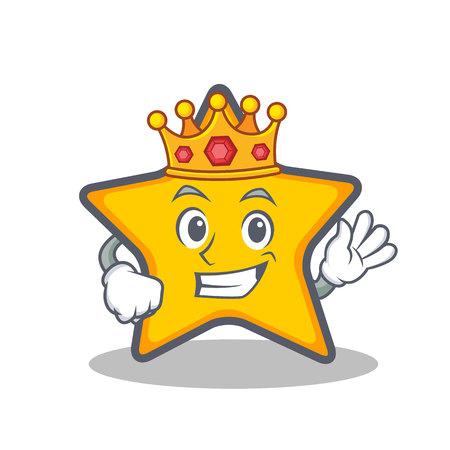 Koning ster karakter cartoon stijl vector kunst