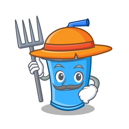 A Farmer soda drink with spading fork character cartoon vector illustration