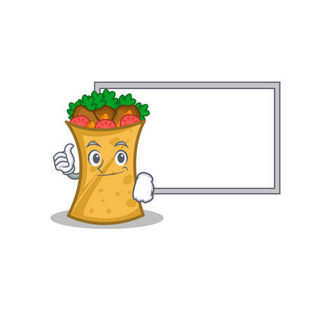 Pose with board kebab wrap character cartoon vector art