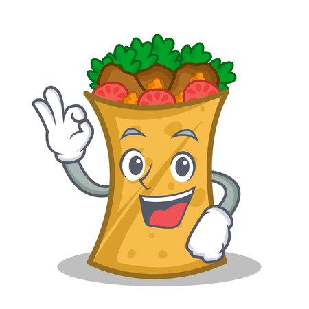 Okay kebab wrap character cartoon vector illustration Illustration