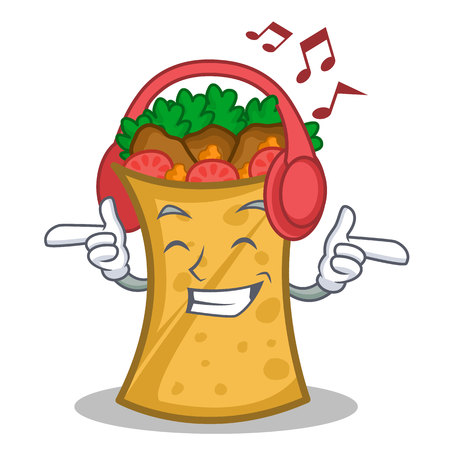 Kebab wrap character listening to music cartoon vector illustration