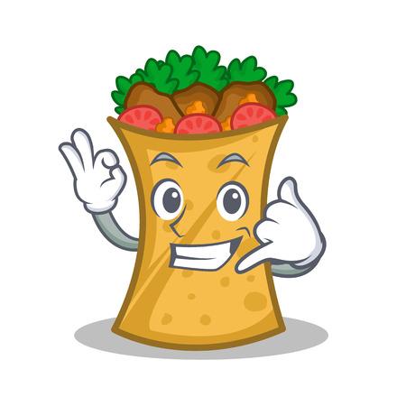 Call me kebab wrap character cartoon vector art